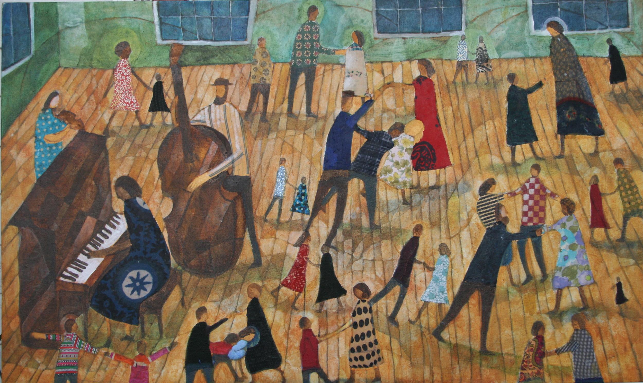 Dance, 36x72 Acrylic, Fabric on Canvas mounted on Panel, 2012, Bridgeport Memorial Hospital, Bridgeport, CT