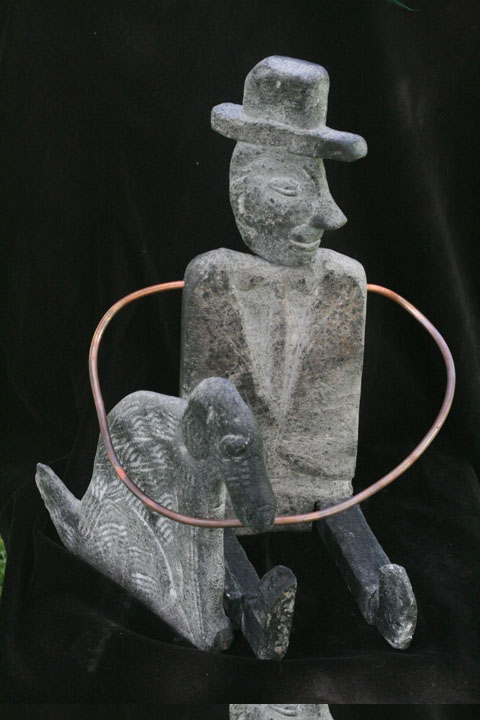 Man and Dog  17x10 Soapstone, Copper 2007