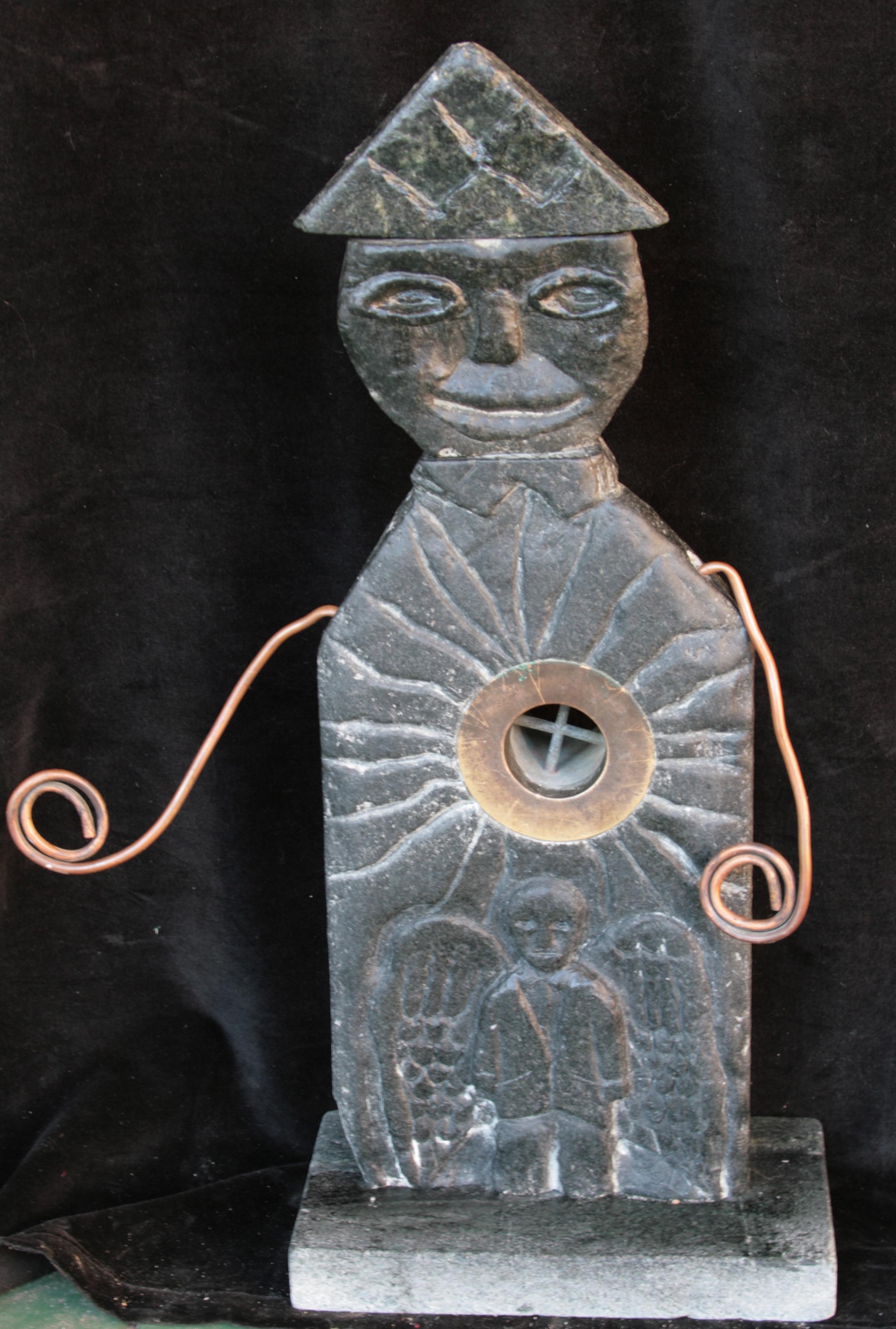 """Father and Son 18""""x6"""" Soapstone, Copper  2007"""