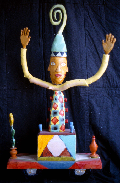 Multidirectional man, 32x18, Oi Paint, Carved Wood 2006 Private Collection