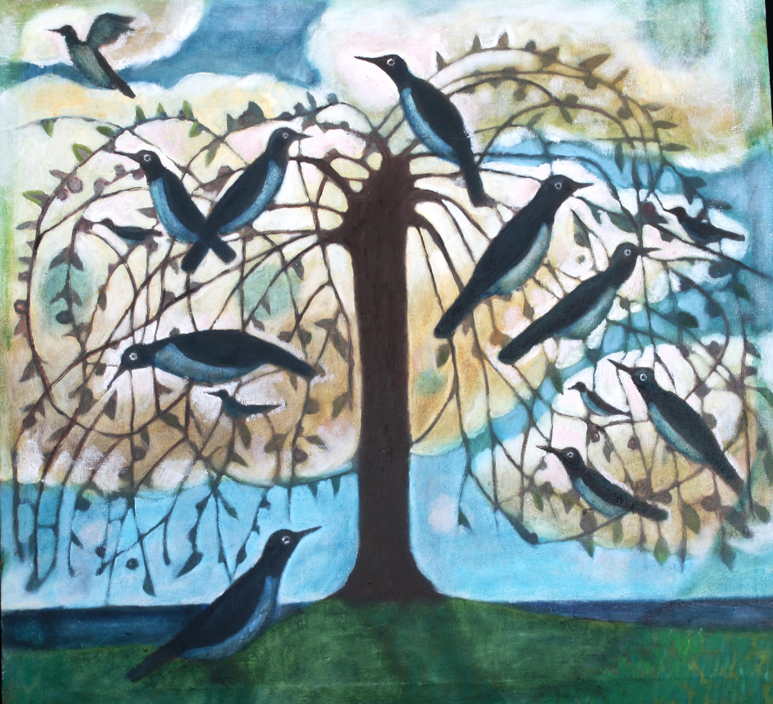 Birds in a Tree 32x32 Oil on Linen 2010