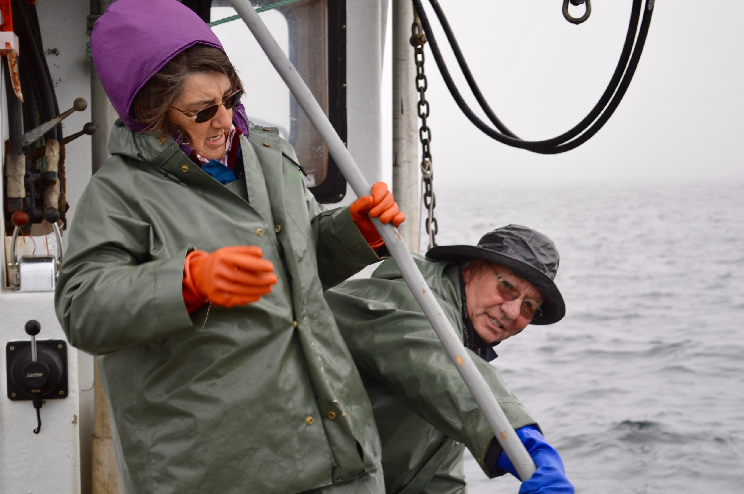 Aubrey and Marie Payne on their boat off Fogo Island