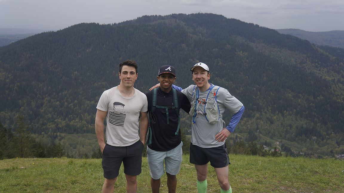 Brent, Mike, and myself at a lookout on Tiger Mountain.
