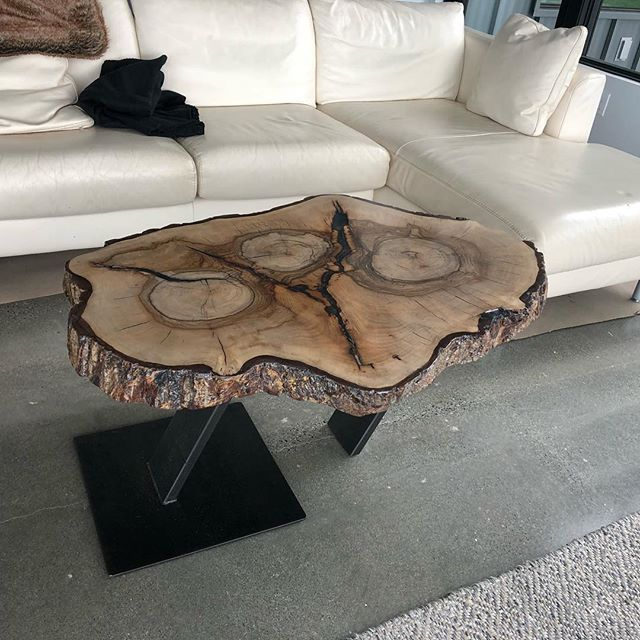 Cool coffee table I got to make for a wild slab of wood. The h table  #blackensteel #coffeetable #steel #wood #custom @misturmetals