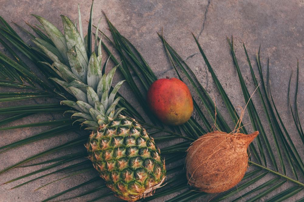 Pineapple+mango+coconut+Tropical Fruits