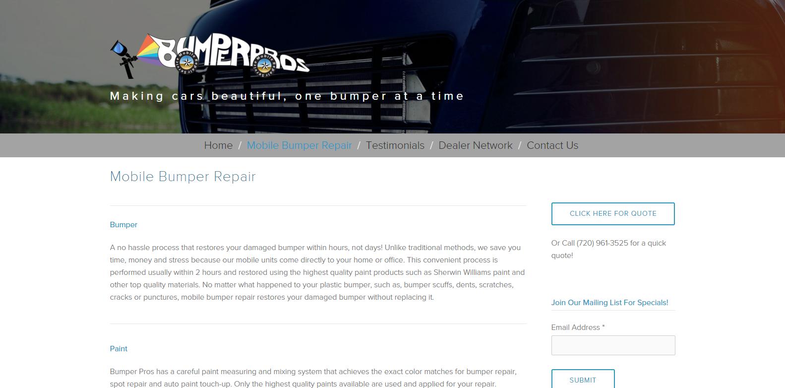 Bumper Pros Website