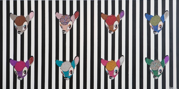 Bambi × 8, with Swarovski crystals  Mixed media on MDF  122 × 244cm