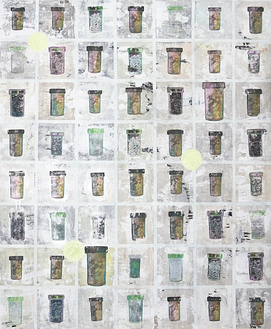 56 Pill Bottles  Mixed Media on MDF with frame  130 × 100cm
