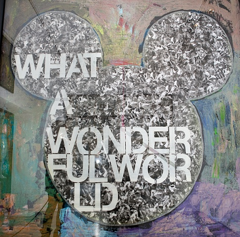 What A Wonderful World   Collage and mixed media on MDF in glass with frame  170 × 170