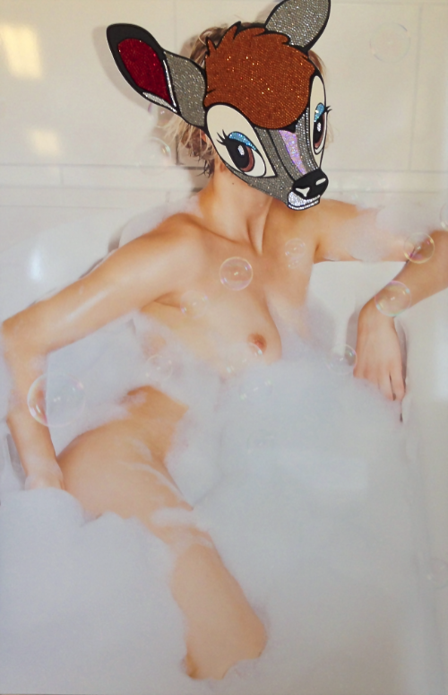 Bambi takes a bath    Series 5, with Swarovski crystals   Mixed Media on Aluminium with glass and frame  106 × 156cm