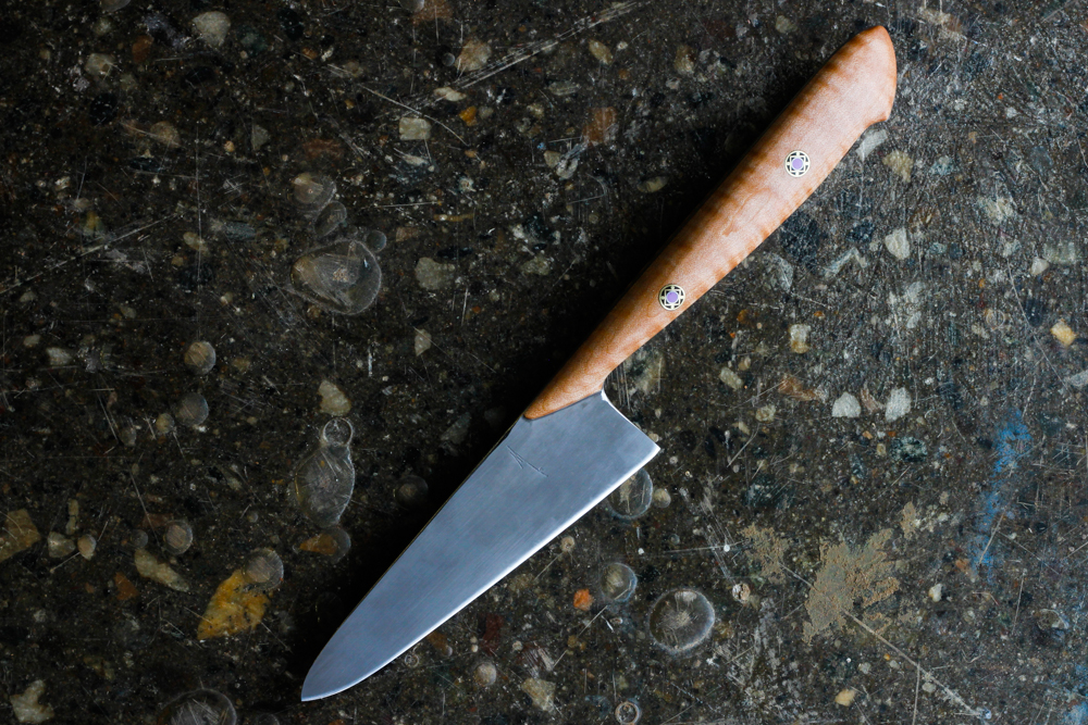 "5.5"" Curly Maple Chef Knife. $400, SOLD."