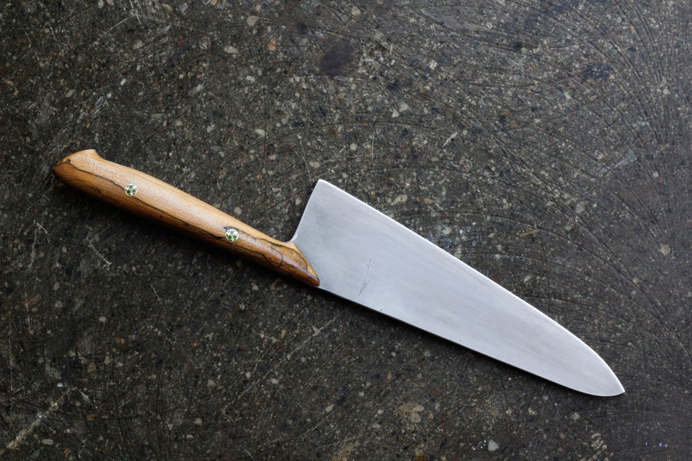 "8"" Spalted Maple Chef Knife. $650, SOLD."