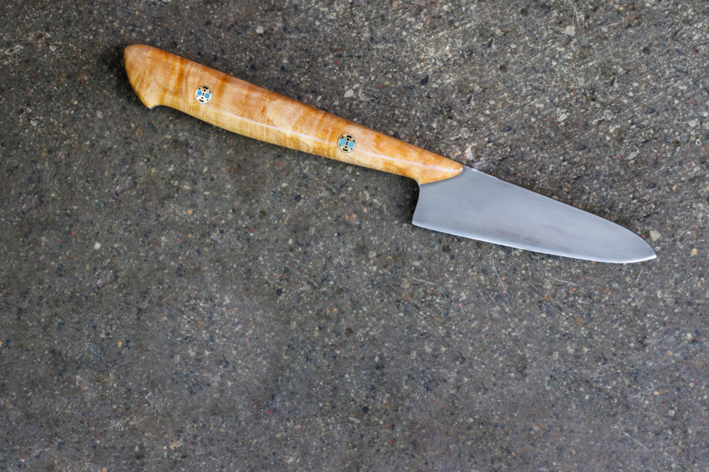 "3.5"" Curly Maple Paring Knife. $280, SOLD."