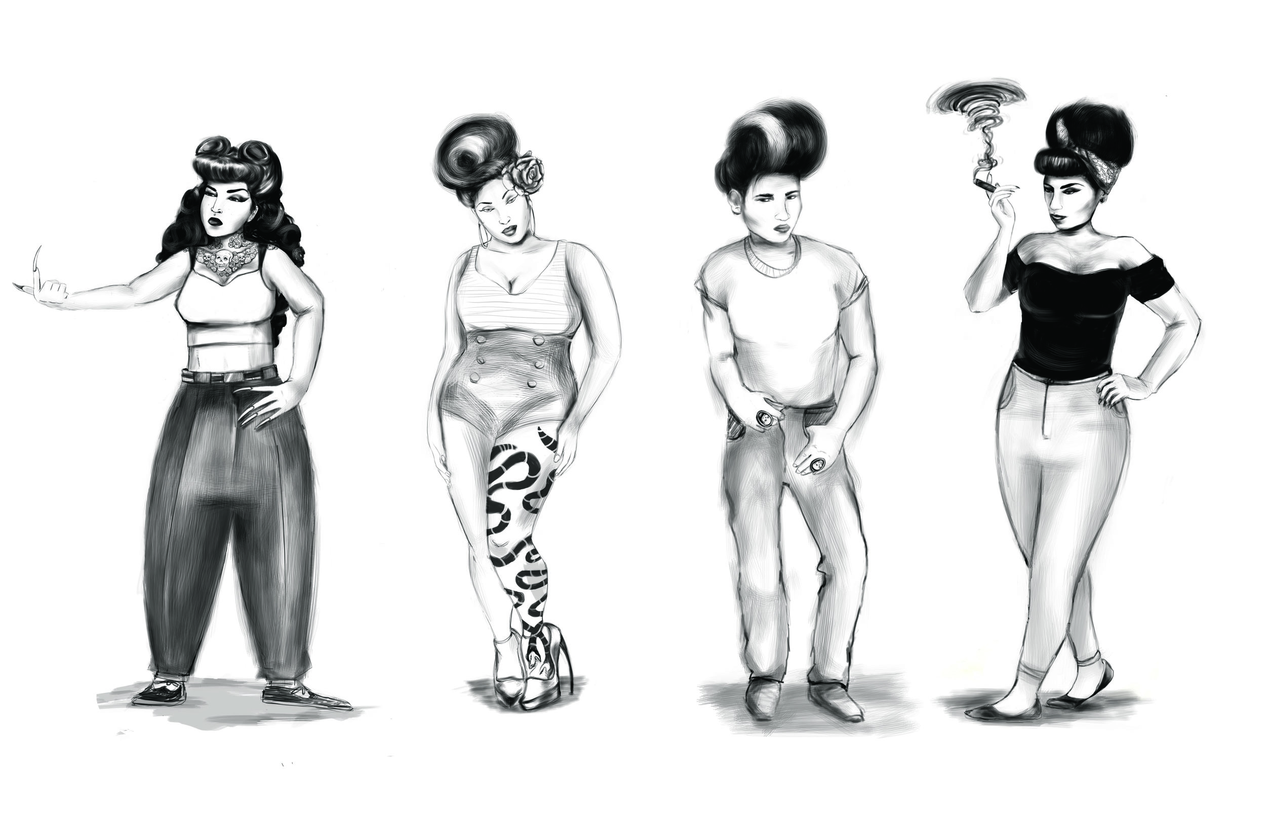 Character lineup for story in development by Dir. Aurora Guerrero