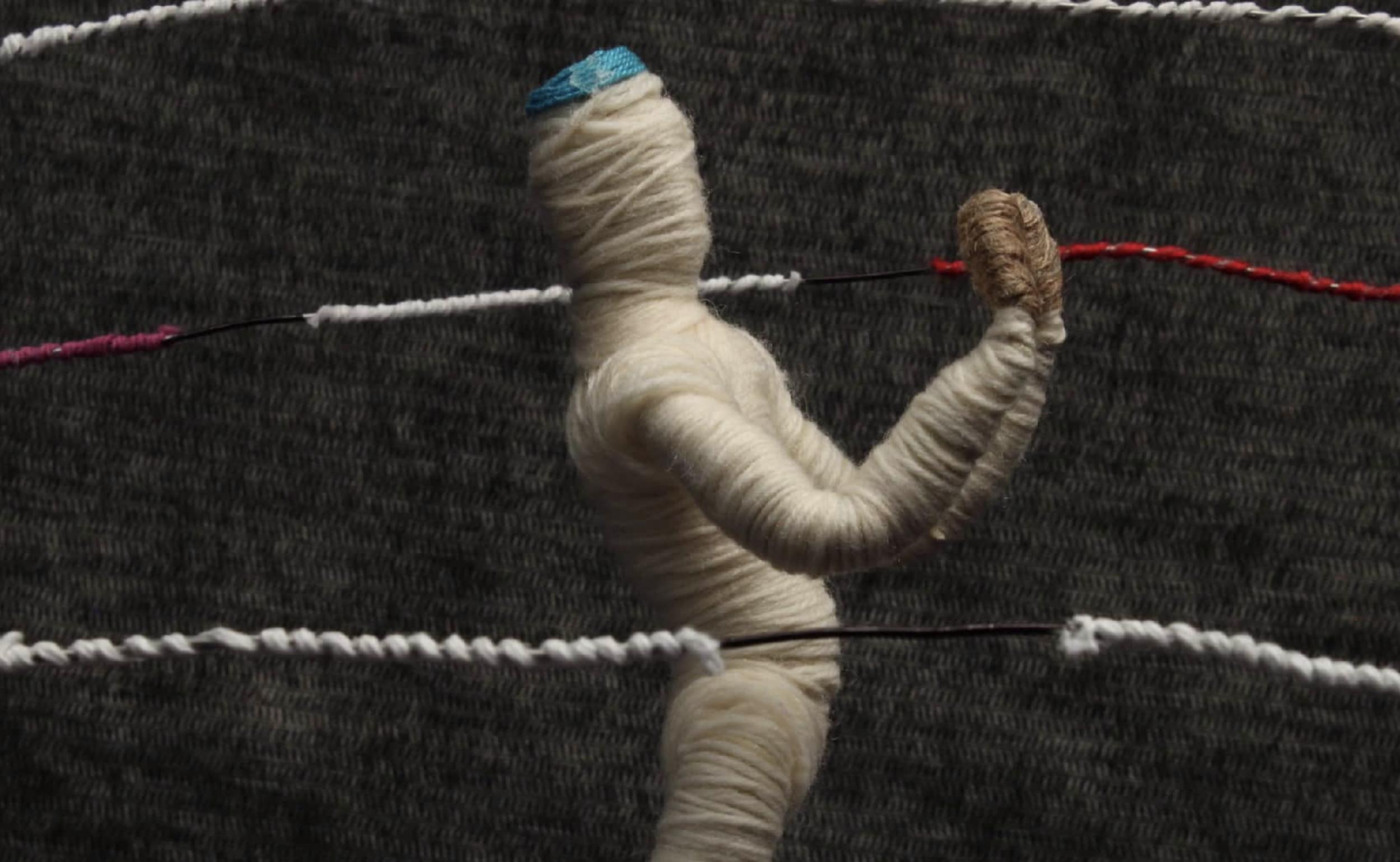 """""""Motivation."""" exploring fabrics study. puppet animation: pamela m. chavez. strands animation: masashi yamamoto"""