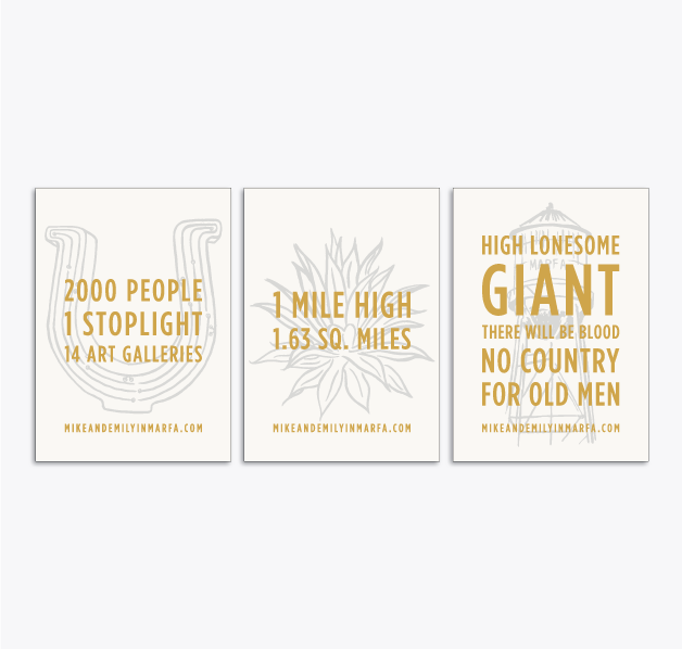 Marfa, TX trading cards,  2.5x3.5in, single-sided, blind letterpress + foil stamp