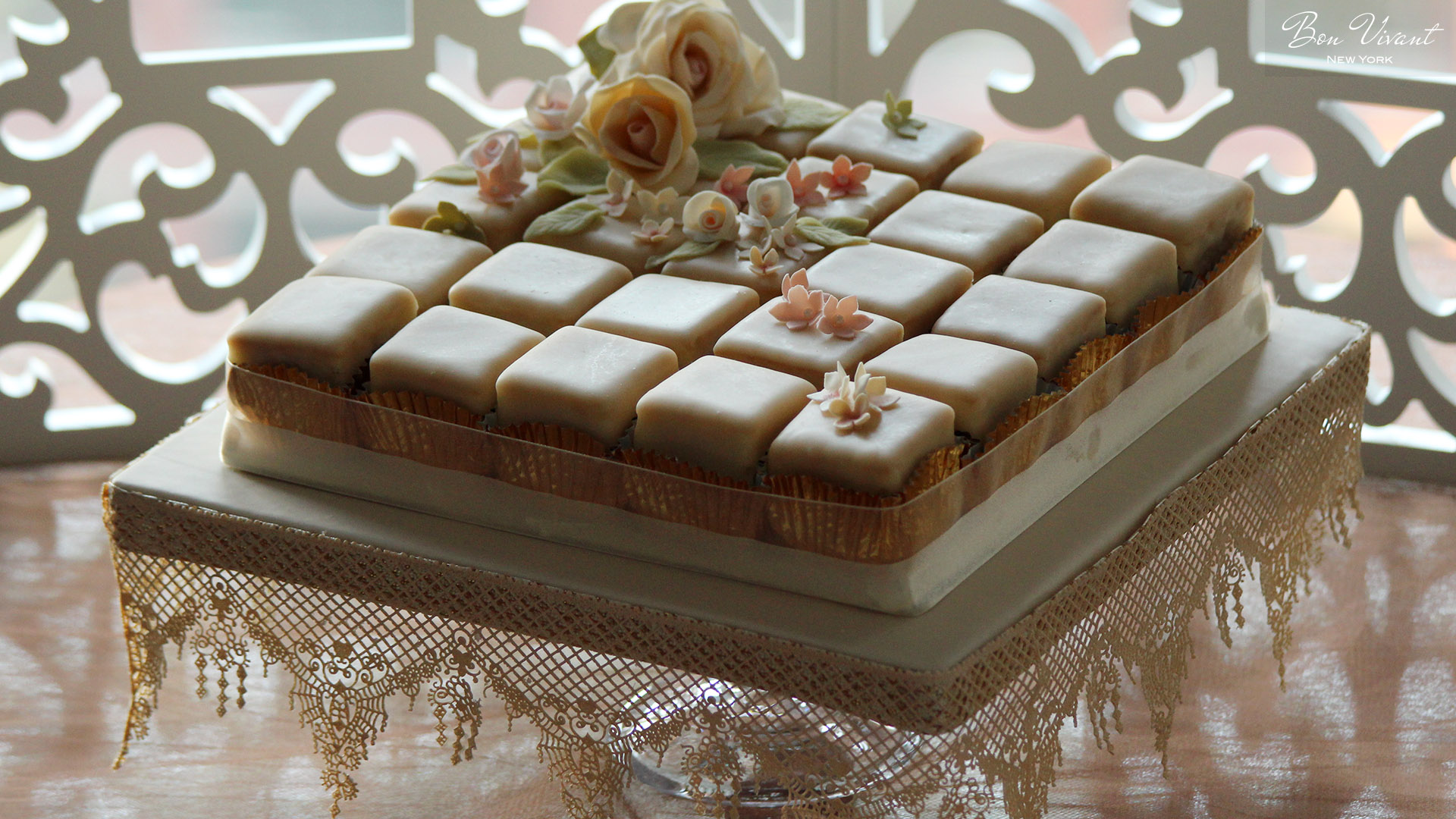 Ivory & Rose Wedding Collection - petit cakes with sugar roses and flowers