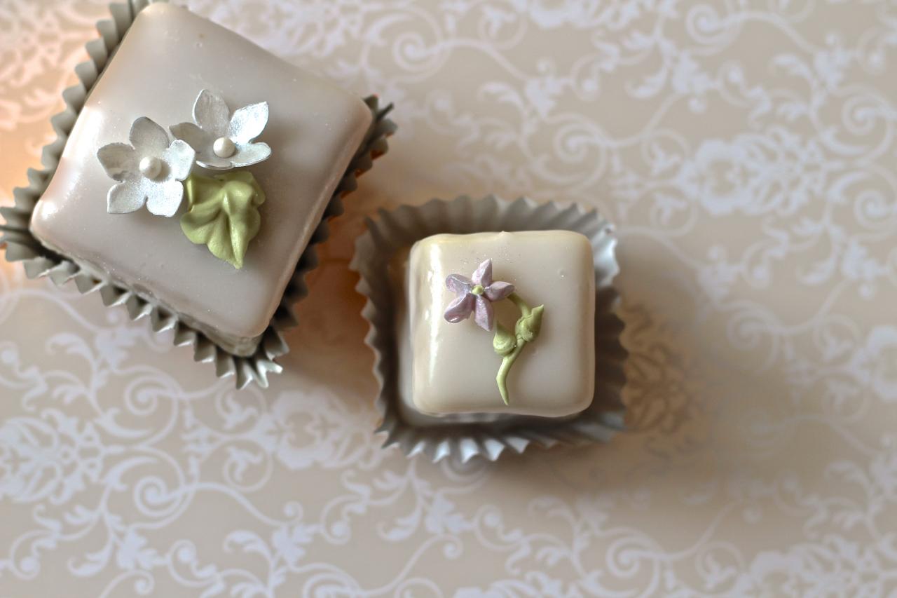Left: Bon Vivant Petit Cake Right: Bon Vivant Demitasse Petit Four