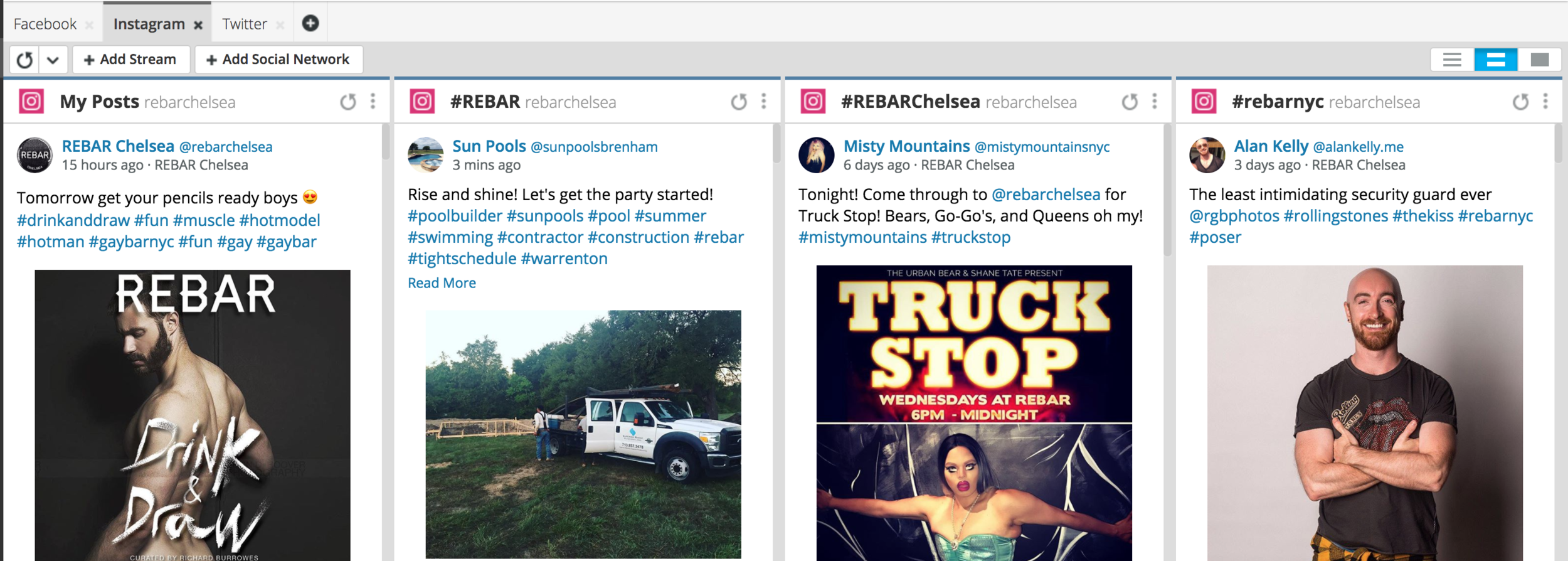 Example from REBAR Chelsea - note the monitoring of hashtags!