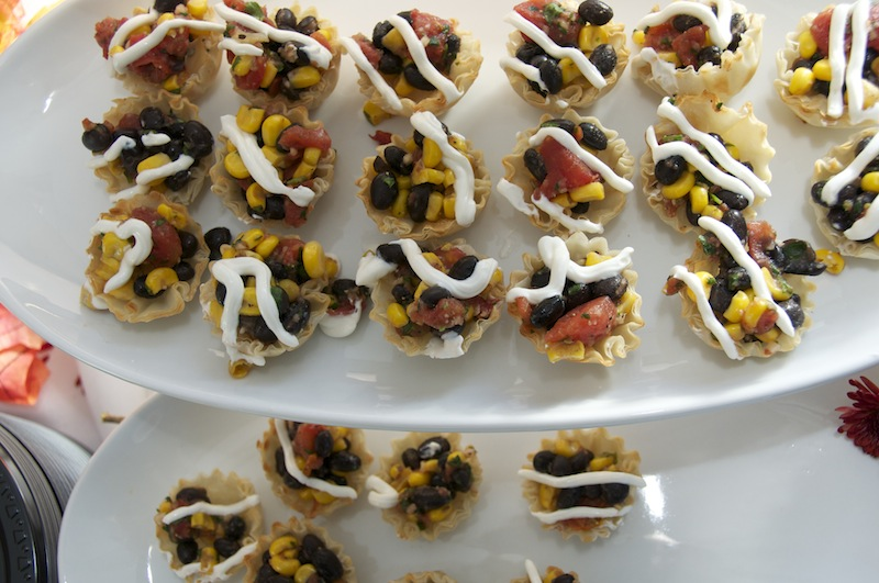 Creole chicken with black bean and corn salsa.