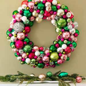 A beautiful wreath of ornaments. //    Good Housekeeping