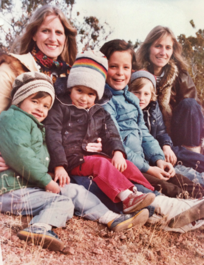 Char and Sherry with kids, 1977, Santa Fe, NM