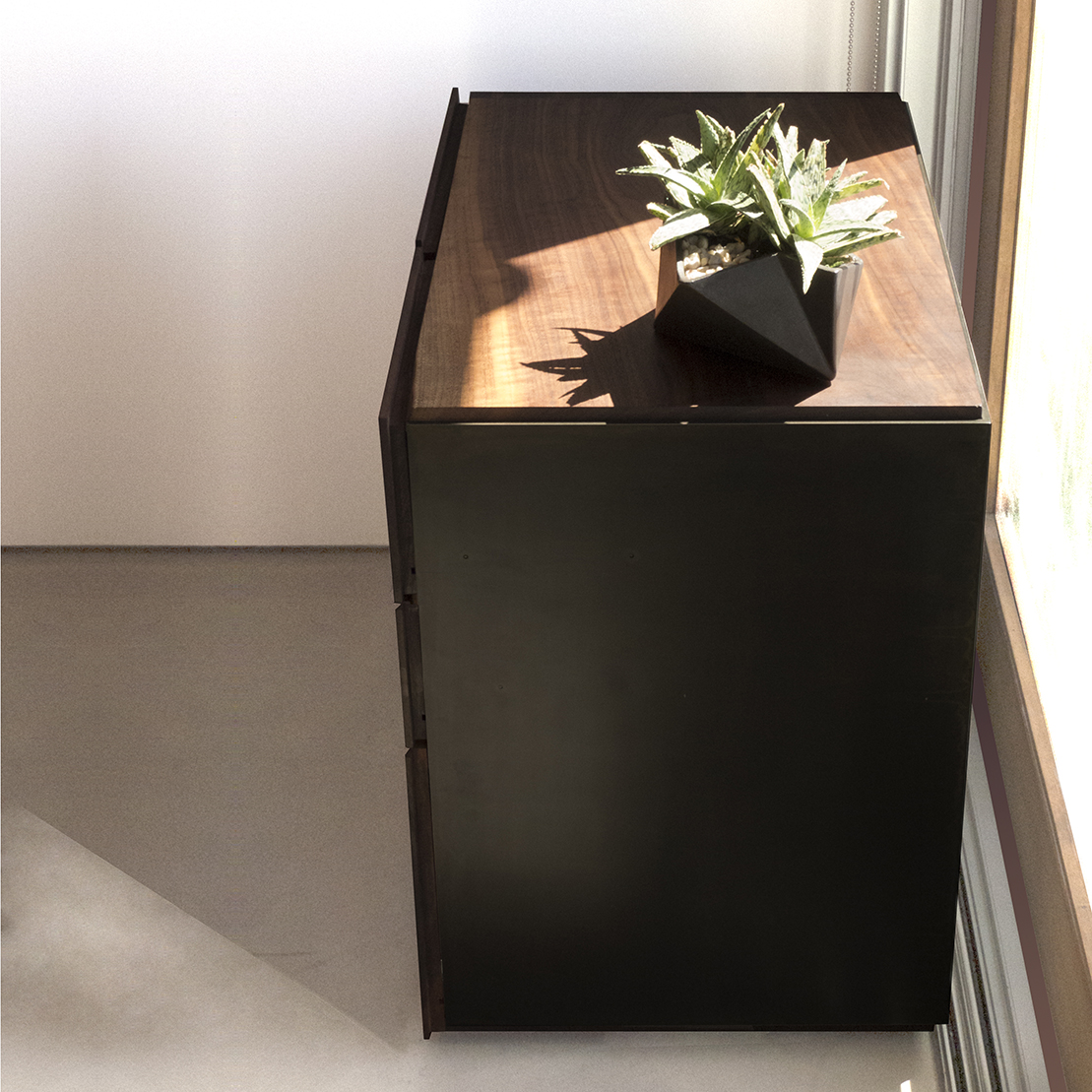 Modern Walnut and Steel Filing Cabinet