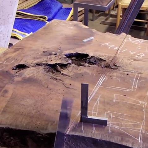 process / handsawing walnut slab