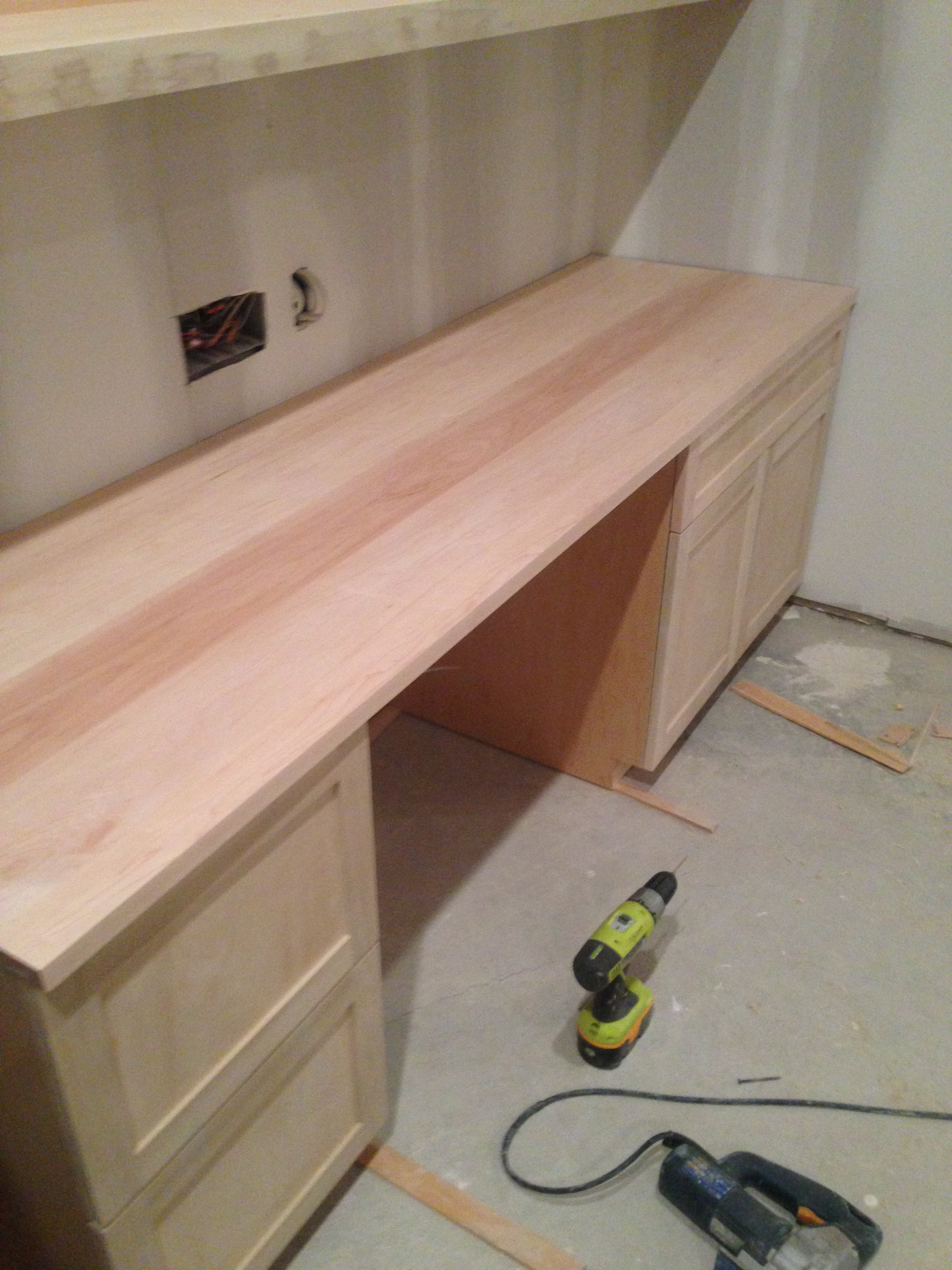 Custom desk being built.