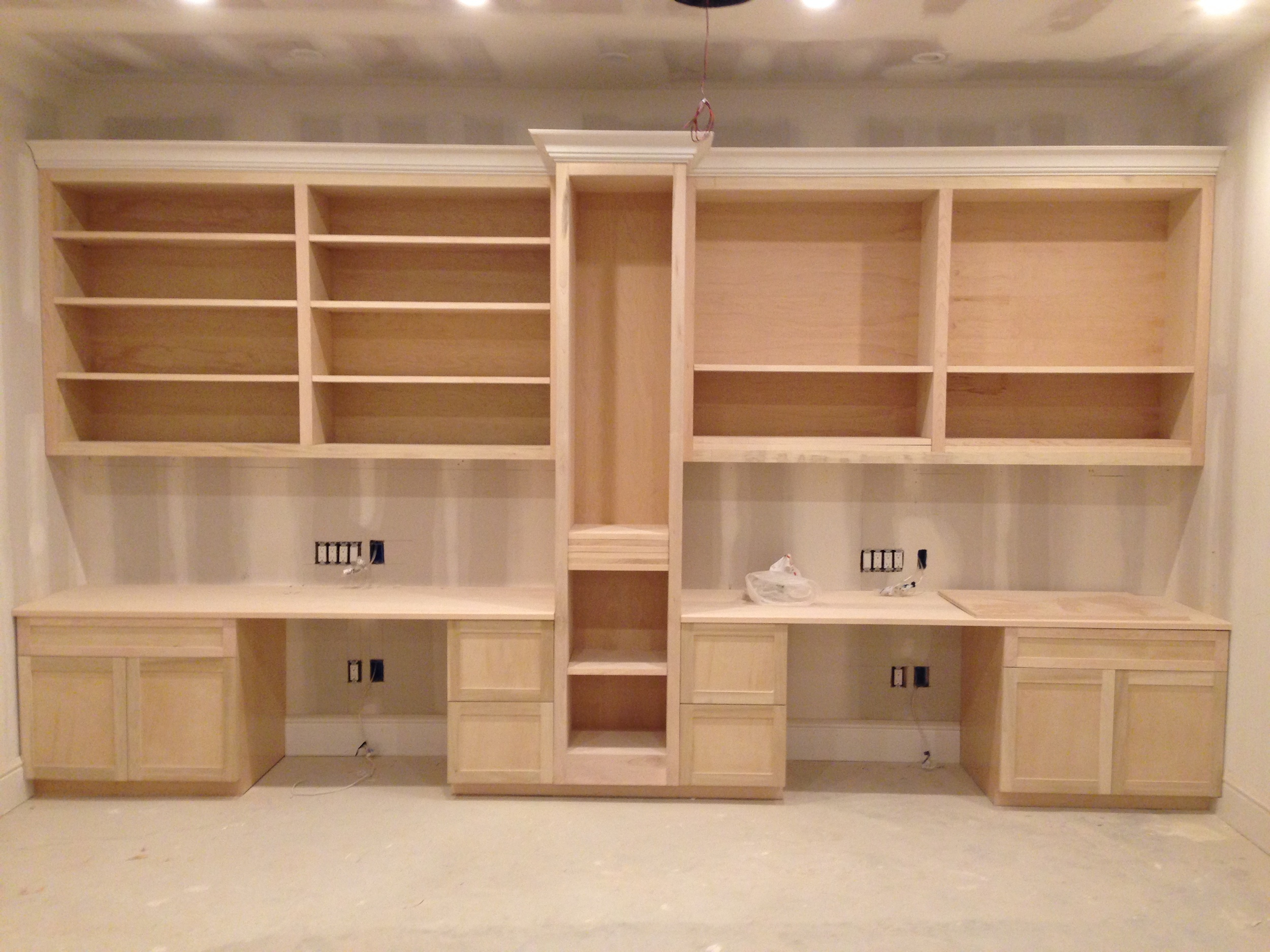 Custom built desks & shelves.