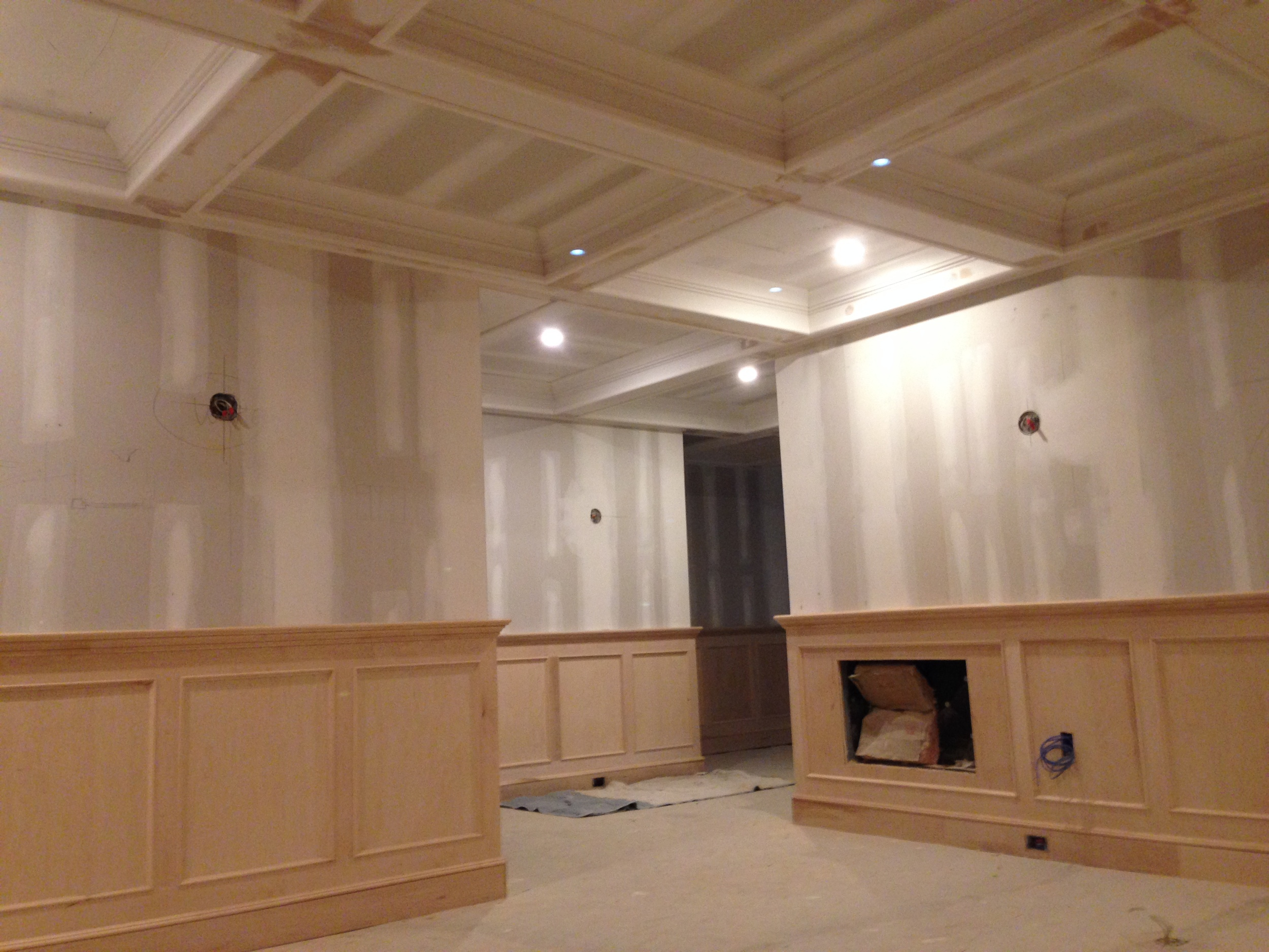 Maple Wood Paneling for Shuffleboard Room.