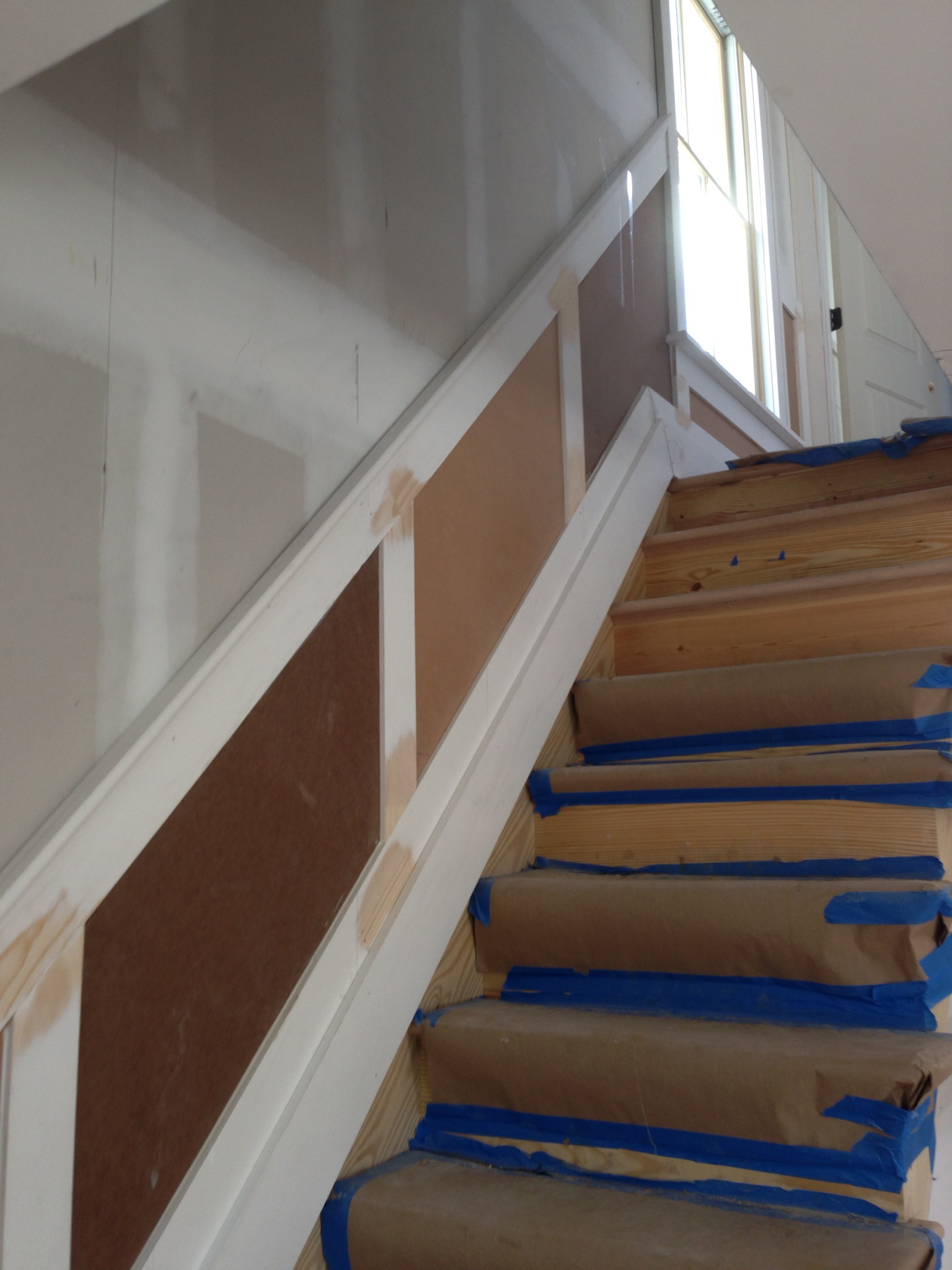Stairway & Shaker Paneling Being Built.