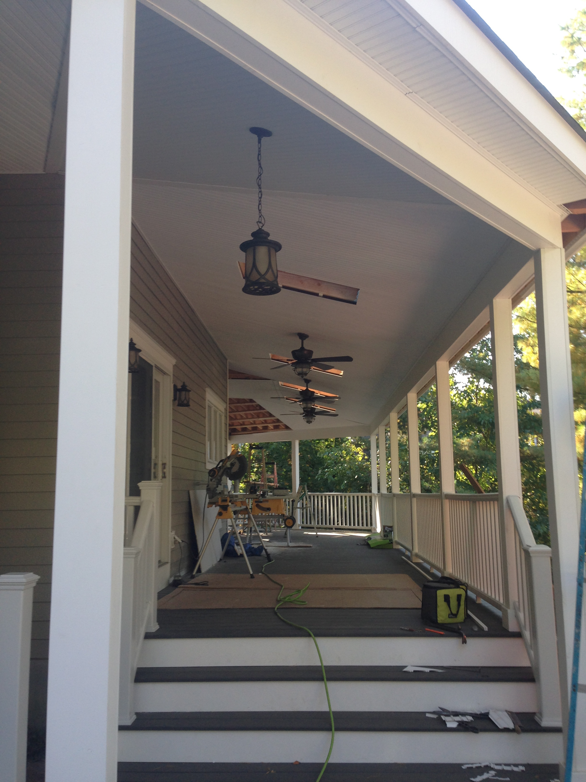 Finished covered porch.