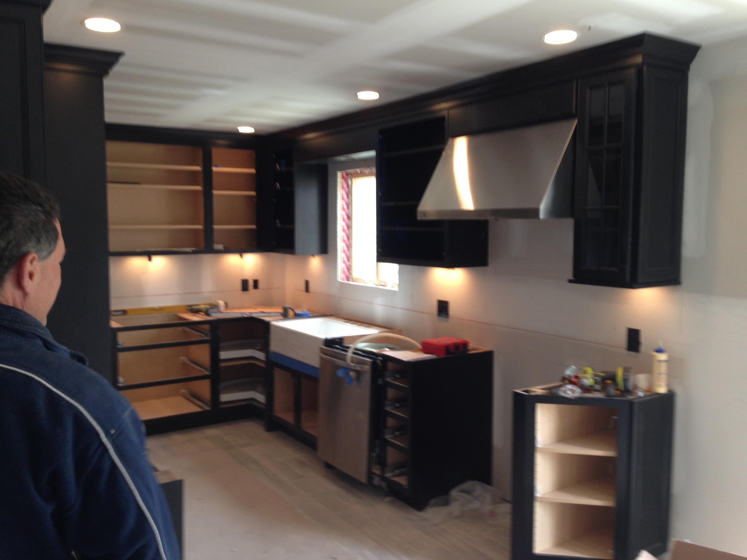 Custom wood cabinets.
