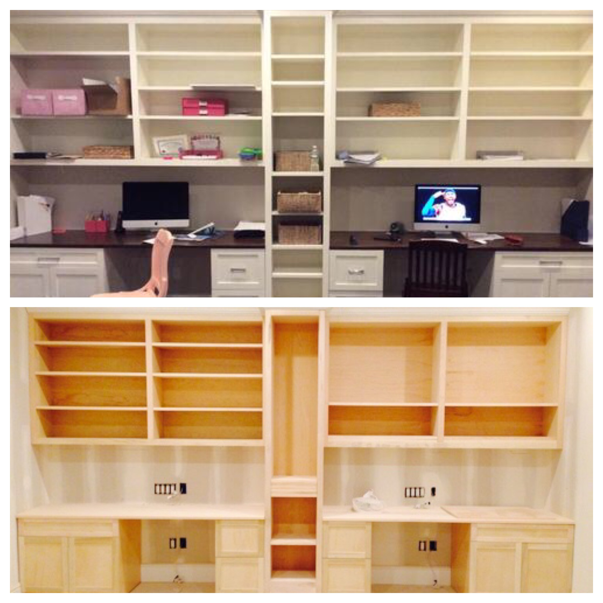 Custom built desk & shelves before and after