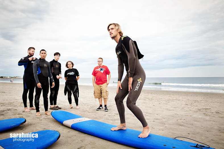A surf instructor from Cinnamon Rainbows Surf Co. teaches the Waypoint group
