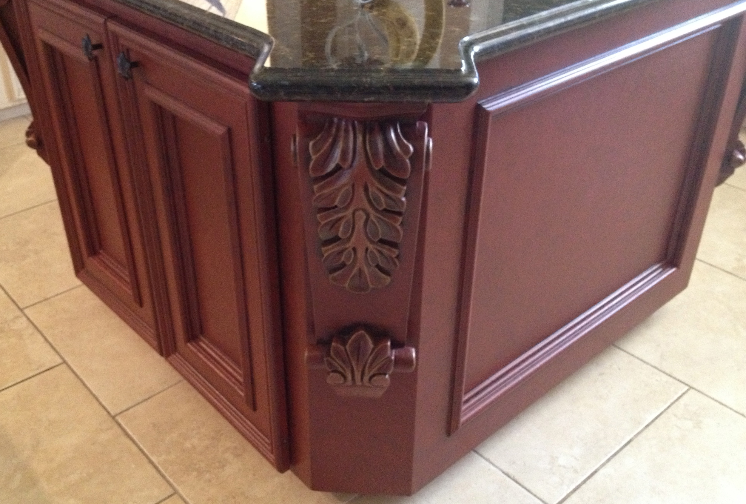 Red Faux Island Cabinet