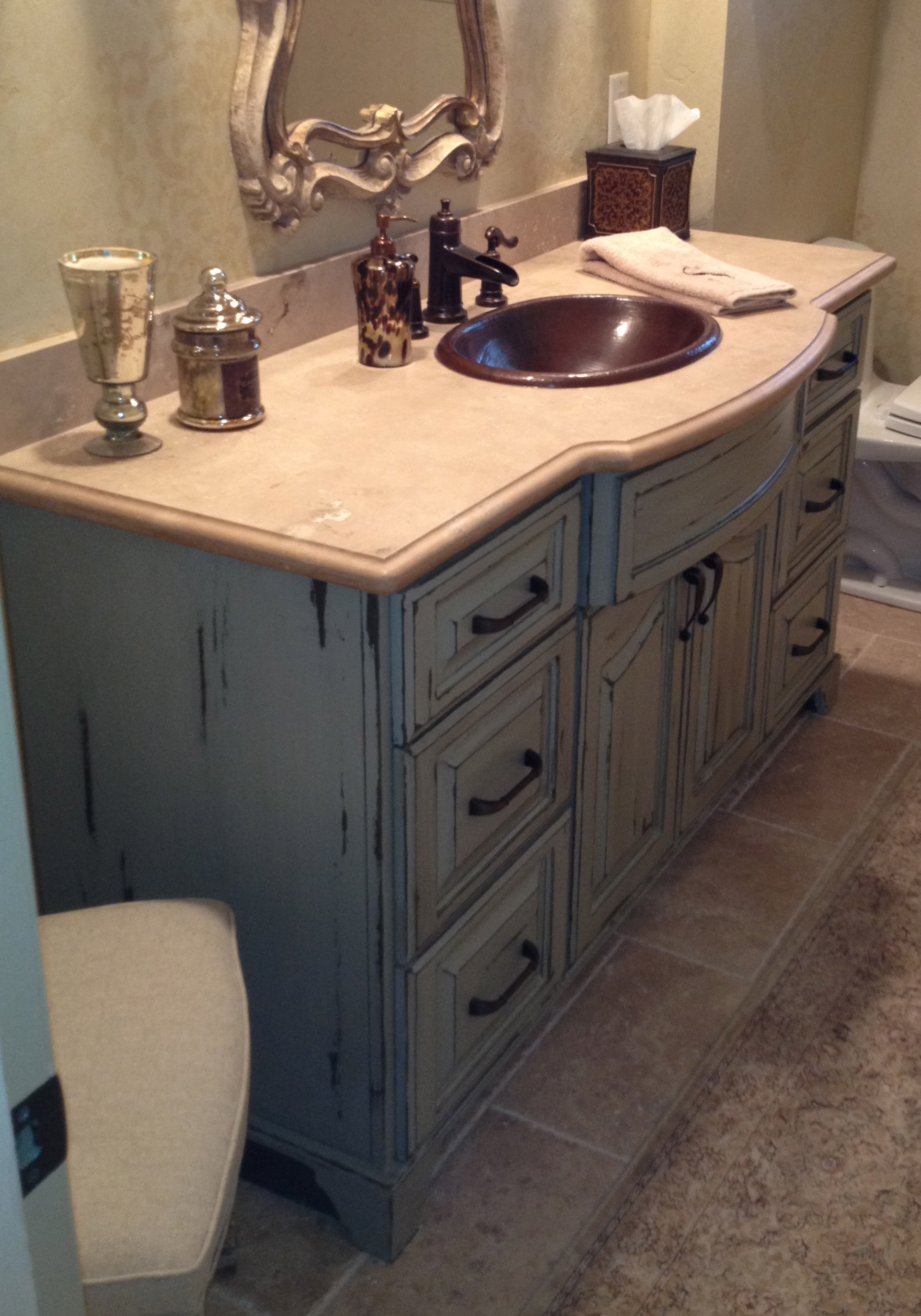 French Distressed Reveal Faux Cabinet