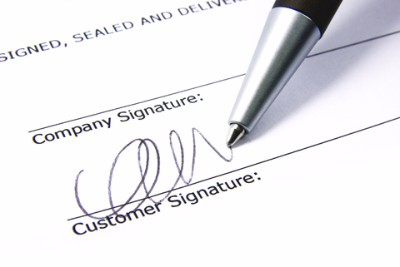 Get them to sign on the line that is dotted.