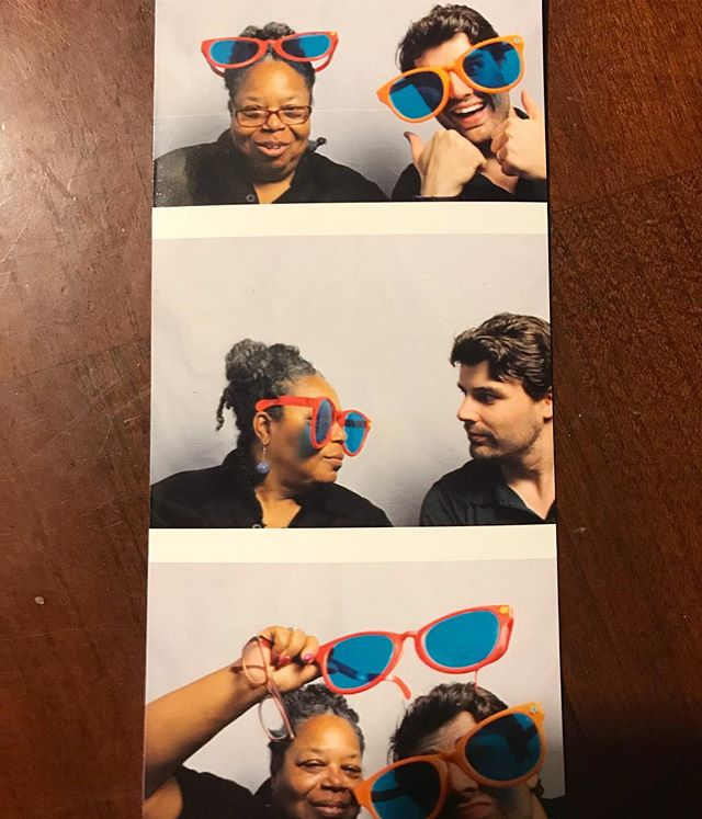 The lovely lady working the photo booth at last night's wedding told me I needed to hop in for some photos of my own. I told her my one condition was of course that she join me. #friendsforlife