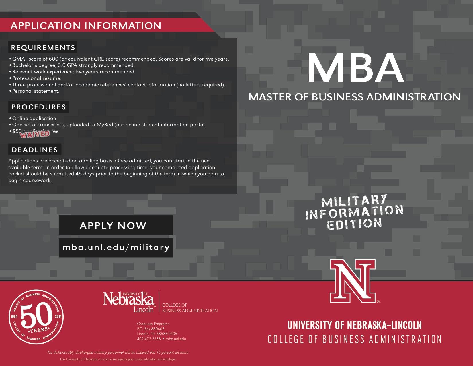 MBA military brochure