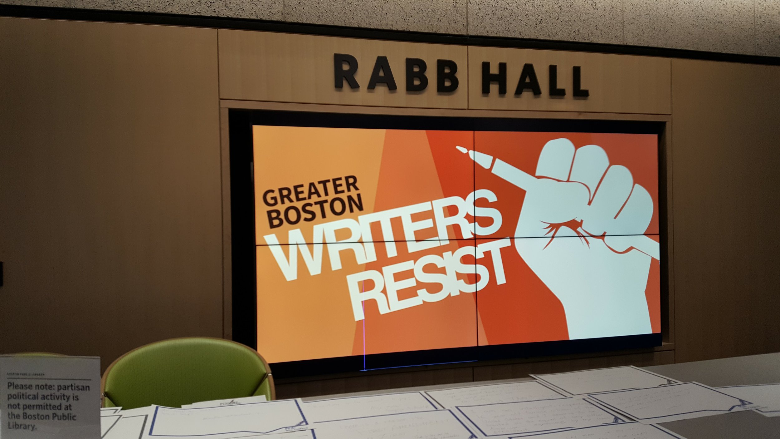 At the Writers Resist Event at the Boston Public Library