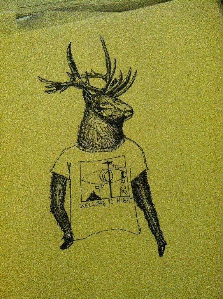 An elk wearing a Night Vale T-Shirt from Twitter follower    @  SpineIessCrow