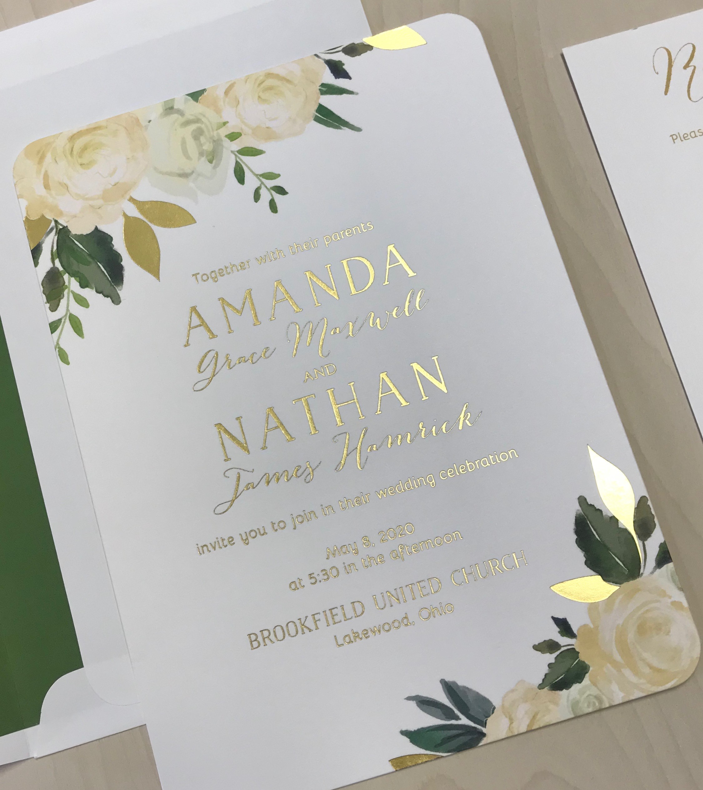 Dreamy Blooms Foil Pressed Invitation
