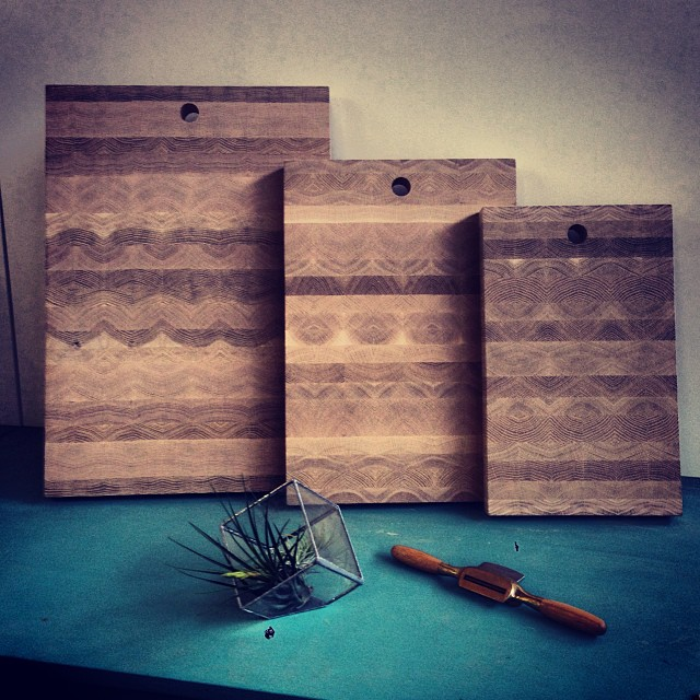 The three sizes of end grain butcher block I offer.  here they are shown in American White Oak still waiting for there brass plugs and a coating of beeswax and mineral oil.