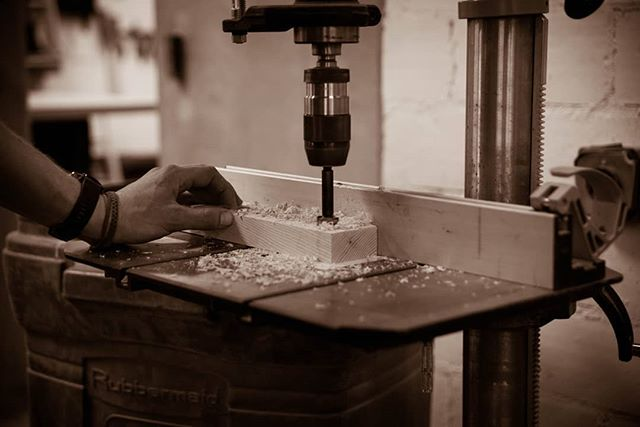 PROCESS • Making holes on the drill press.  The goal here is to choose the right RPM / downward pressure and have a sharp bit to get those nice big shavings.  Alternative is to get a cloud of dust and a blackened bit from too much heat.