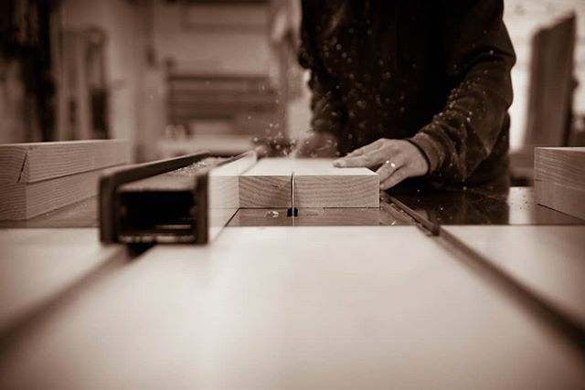 PROCESS •  Rip cut on the table saw.  When we make stock for butcher blocks it is not uncommon for one of us to spend 3 hours posted up at this machine making rip after rip after rip... One could call it monotonous.  We have decided to call it meditative.  And so it is.