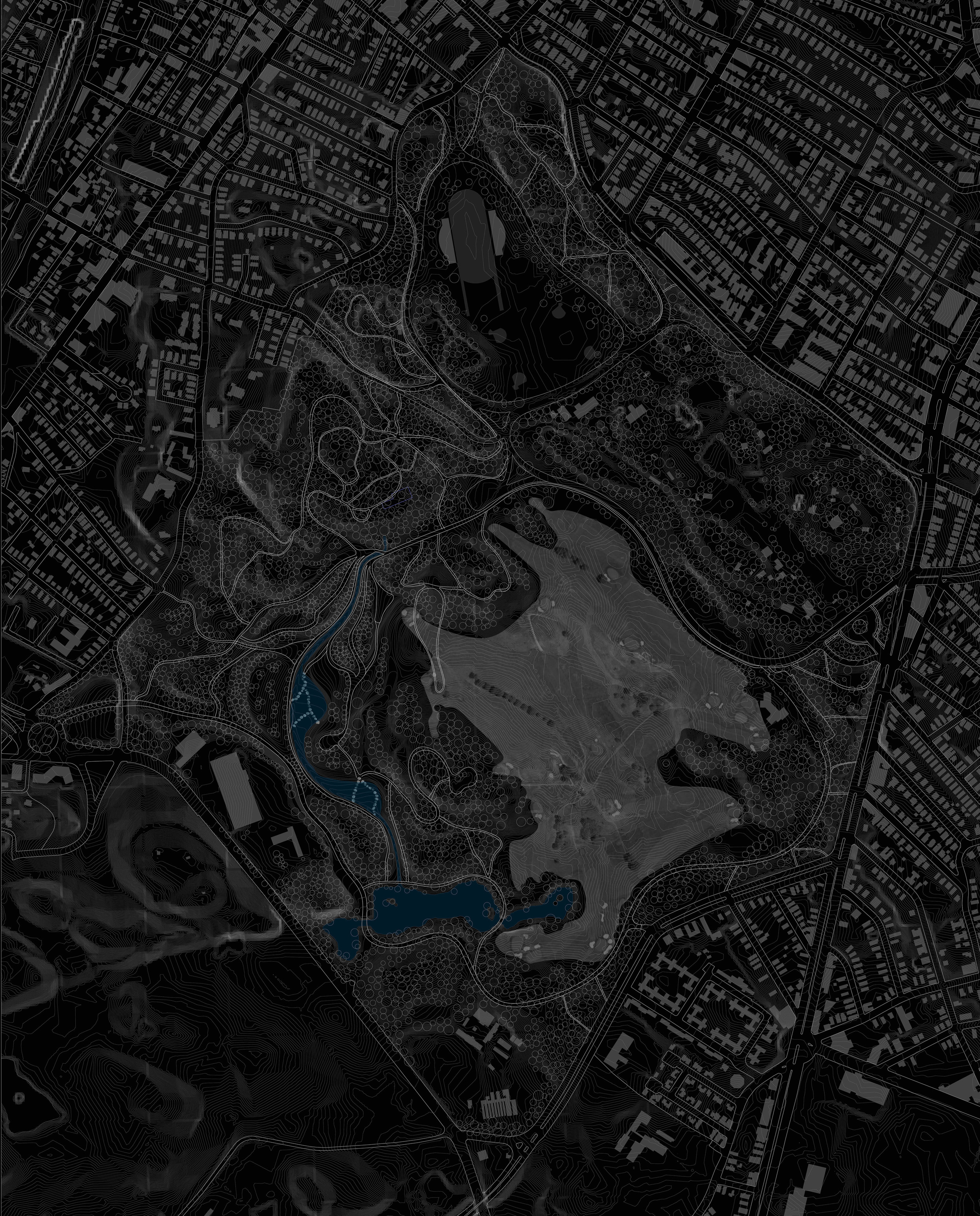 Masterplan of Franklin Park shows the extend of the stream.