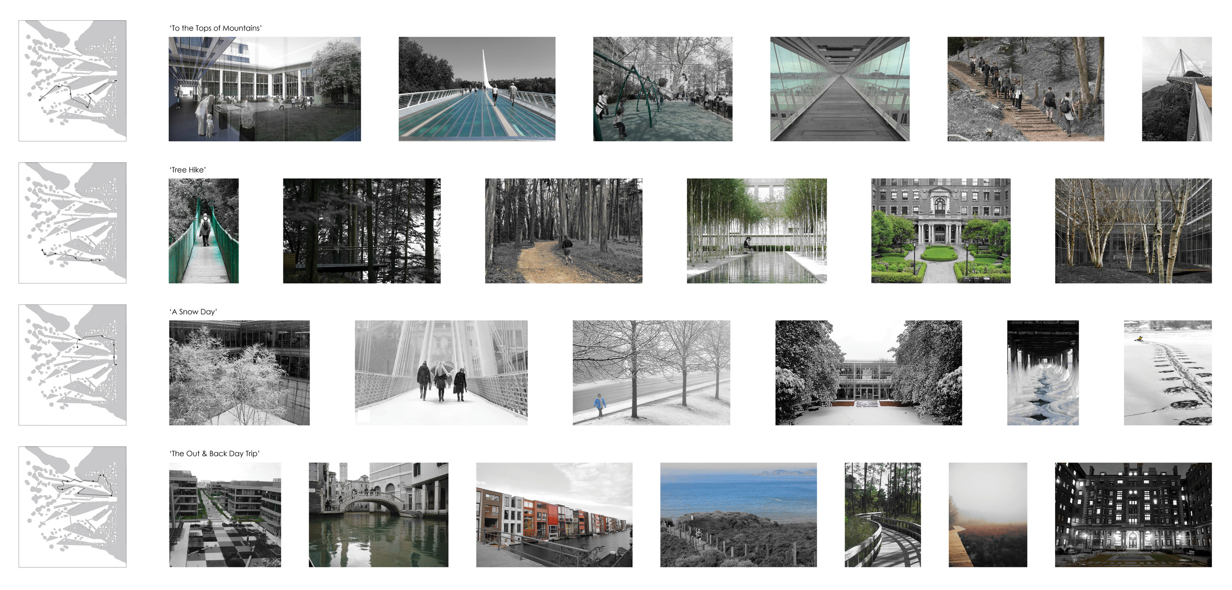 Four series of 'walk throughs' were designed to describe the transition between the urban fabric, the peninsulas, and the barrier islands. Each walk focuses on a different aspect of the project: 'To the Tops of Mountains' begins in the urban fabric takes you across multiple bridges and to the top of a barrier island; 'Tree Hike' follows a path inward from the barrier islands to a central courtyard of one building; 'A Snow Day' looks at the variety of activities available; and finally 'The Out & Back Day Trip' follows the supposed path of a family going out for a picnic on a Saturday.