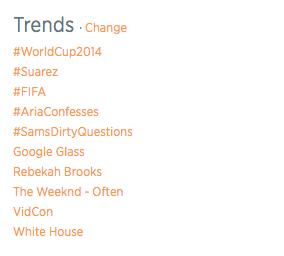 Trending on Twitter, as of 08:20 pm CST, June 24, 2014